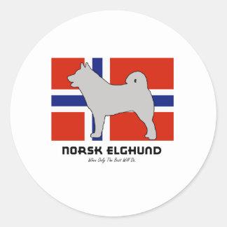 Norsk Elghund con la bandera Etiqueta Redonda