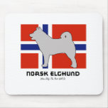 Norsk Elghund with Flag Mouse Pad