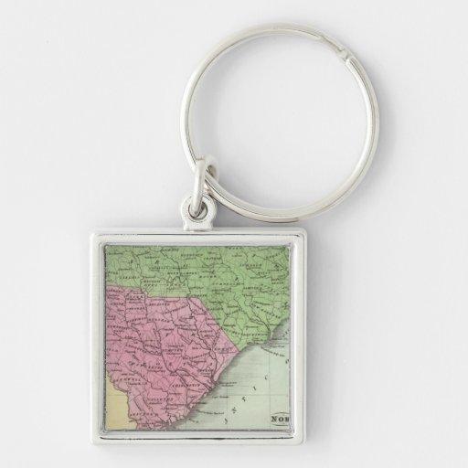 Norte y Carolina del Sur 2 Llavero Cuadrado Plateado