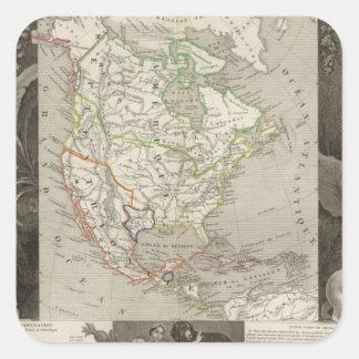 Norteamérica 39 calcomanías cuadradass