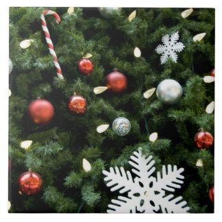 Norteamérica. Decoraciones del navidad en árbol. 4 Azulejo Cuadrado Grande