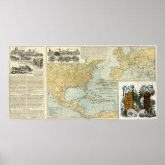 Norteamérica, líneas del pasajero de W Europa Posters