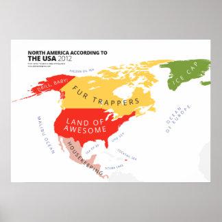 Norteamérica según los E.E.U.U. Póster