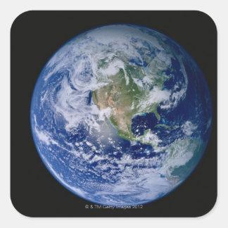 Norteamérica visto de espacio pegatina cuadrada