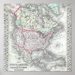 Norteamérica y el mapa de la antigüedad de Estados Posters