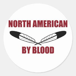 Norteamericano por sangre etiqueta redonda