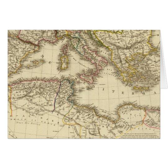 North Africa, Mediterranean Sea Card