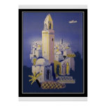 North Africa travel vintage Retro Print Poster