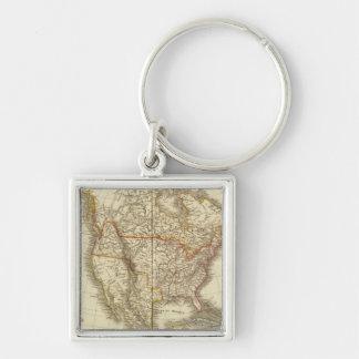 North America 13 Silver-Colored Square Keychain