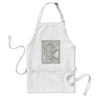North America and the United States Antique Map Adult Apron