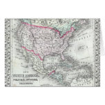 North America and the United States Antique Map Greeting Card
