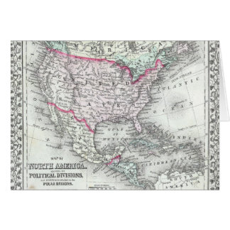 North America and the United States Antique Map Card