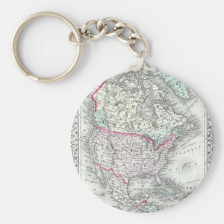 North America and the United States Antique Map Key Chain