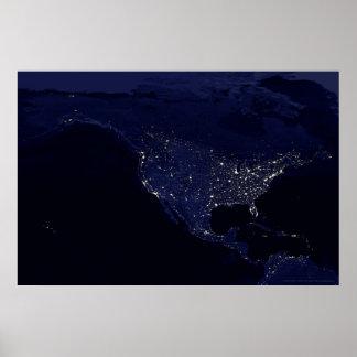 North America at Night 30x20 (24x16) Print
