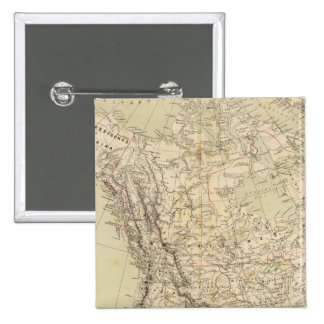 North America Atlas Map showing Indian tribes 2 Inch Square Button