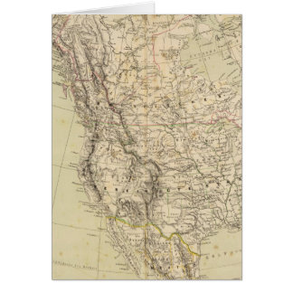 North America Atlas Map showing Indian tribes Card