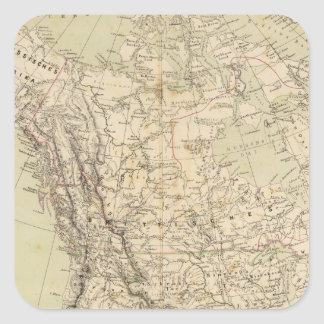 North America Atlas Map showing Indian tribes Square Sticker