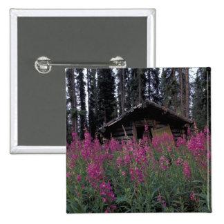 North America, Canada, Yukon. Abandoned trappers 2 Inch Square Button