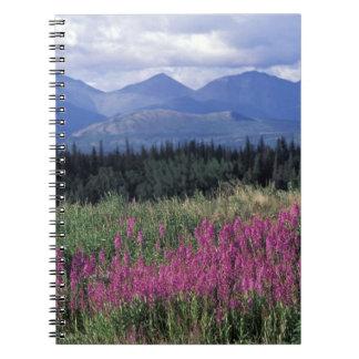 North America, Canada, Yukon. Fireweed blooms Spiral Notebook