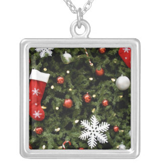 North America. Christmas decorations on tree. 2 Square Pendant Necklace