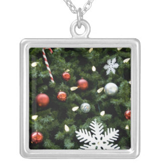 North America. Christmas decorations on tree. 4 Square Pendant Necklace