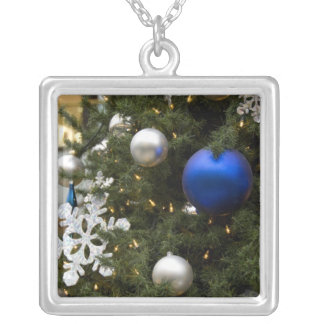 North America. Christmas decorations on tree. Square Pendant Necklace