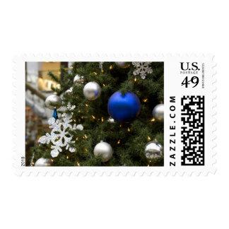 North America. Christmas decorations on tree. Stamp