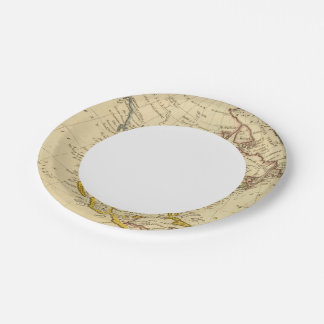 North America Engraved map 7 Inch Paper Plate