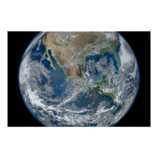North America from low orbiting satellite Poster