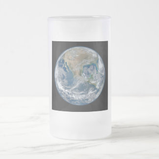 North America from Space Frosted Glass Beer Mug