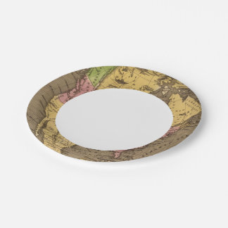 North America Hand Colored Atlas Map Paper Plate