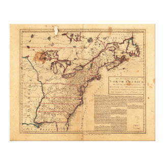 North America Map by Robert Sayer Feb 10th 1763 Canvas Print