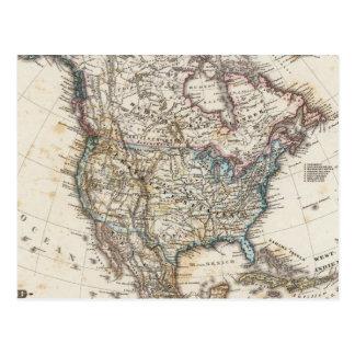 North America Map by Stieler Postcard