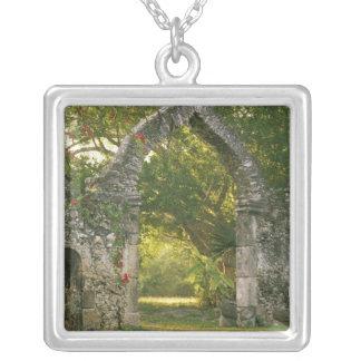 North America, Mexico, Yucatan Peninsula, Silver Plated Necklace