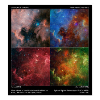 North America Nebula in Visible and Infrared Light Print