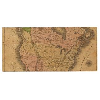 North America Olney Map Wood USB 2.0 Flash Drive