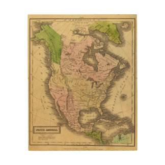 North America Olney Map Wood Wall Art
