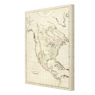 North America outline map Canvas Print