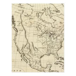 North America outline map Postcard
