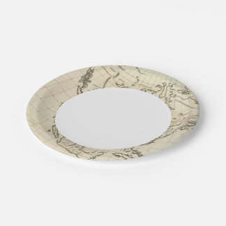 North America outline map 7 Inch Paper Plate