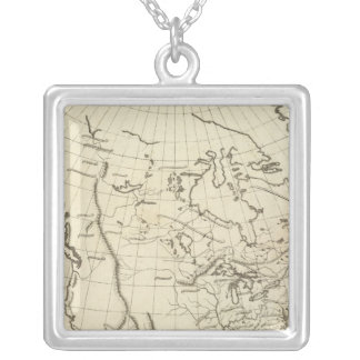 North America outline map Square Pendant Necklace