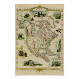 North America Picture Map Poster