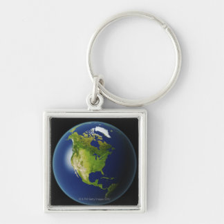 North America Seen from Space 2 Silver-Colored Square Keychain