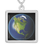 North America Seen from Space 2 Square Pendant Necklace