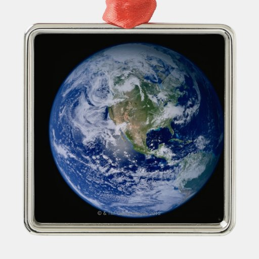 North America Seen from Space Square Metal Christmas Ornament
