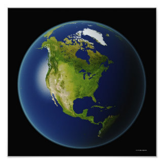 North America Seen from Space Poster