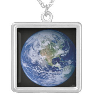North America Seen from Space Silver Plated Necklace