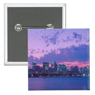 North America, USA, IL. Chicago skyline at dusk 2 Inch Square Button