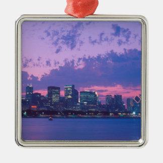 North America, USA, IL. Chicago skyline at dusk Christmas Ornaments