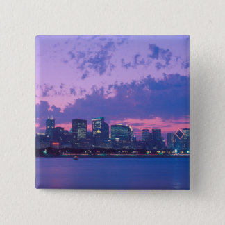 North America, USA, IL. Chicago skyline at dusk Pinback Button